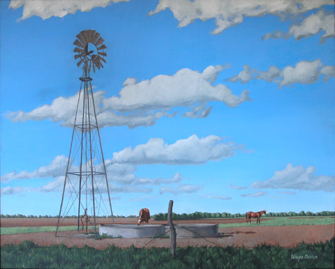 Windmill with Horses